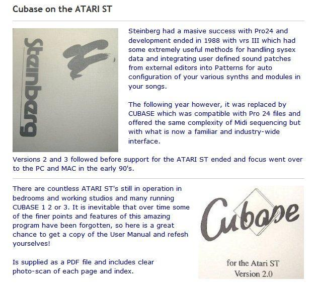 cubase for atari st manual in farnham friday ad. Black Bedroom Furniture Sets. Home Design Ideas