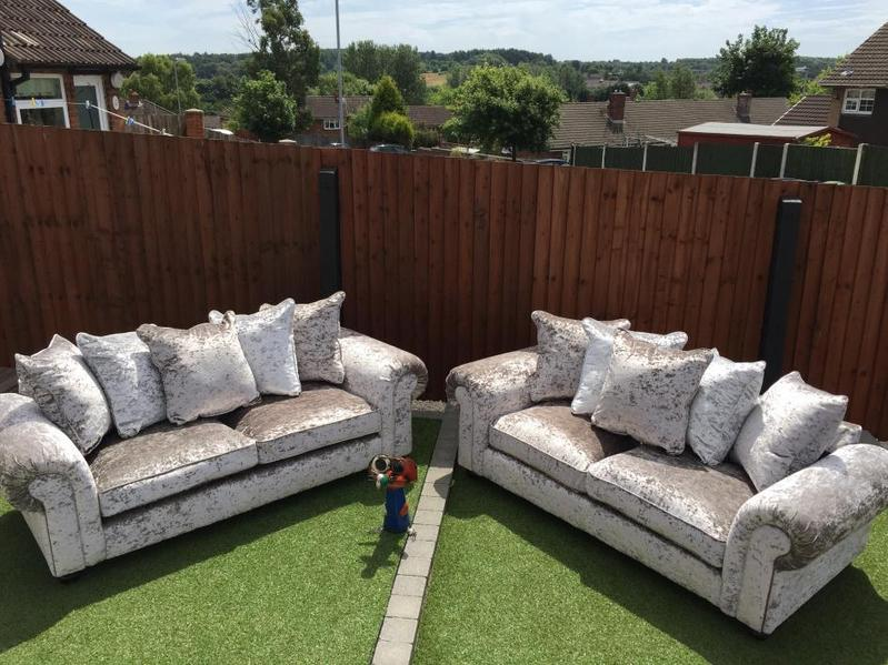 Scarpa 2 X 3 Seater Sofas In Silver Crushed Velvet In Cannock   Expired |  Friday Ad