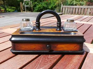 A Vintage Walnut & Stained Wood Ink Stand Desk Tidy