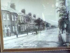 Framed Sepia Photograph of Murray Road, Rugby. Warwickshire in early 1900's.