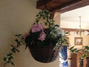 Faux Floral Hanging Basket