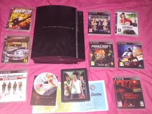Playstation 3 With 9 games, Including GTAV SteelCase and Minecraft (New), Spares or Repairs.