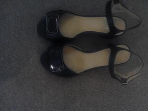 evans black buckle strap shoes.   Size 7 EEE