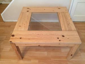 Solid pine and glass coffee table