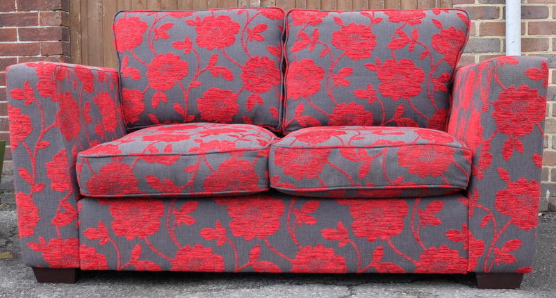 Dfs red grey floral sofa in haywards heath expired Red and grey sofa
