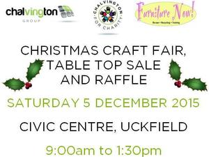 Christmas Craft Fair, Table Top Sale and Charity Raffle 5 December 2015, Civic Centre, Uckfield