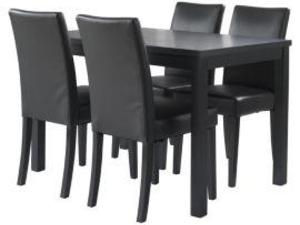 black table and 4 chairs