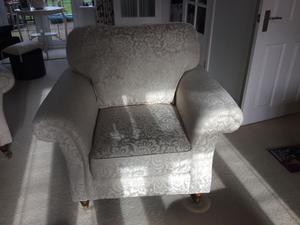 M and S Salisbury suite in lorreta weave biscuit material leg sofa 2 armchairs footstool 6mnths old