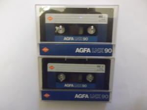 10 Agfa LNX C90 Ferric cassettes with pre-fitted labels - blank and ready to record