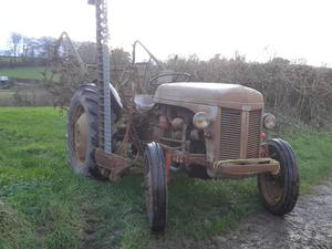 Grey Fergie Ferguson F30 diesel tractor and implements