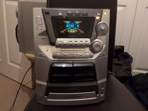 panasonic 5cd rds radio twin tape deck hi fi