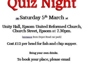 Quiz Night to raise funds for Epsom and Ewell InternationalChoral Festival in the Summer of 2016