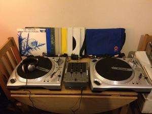 Numark tt1650 turntables with mixer wires, plugs and headphones, 50 dnb vinyl. Good condition.