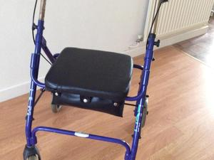 Large mobility walker with seat four wheel