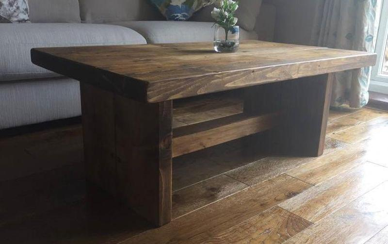 Handmade New Forest Chunky Rustic Coffee Table Solid Wood Mk4 Dark Oak Stain In Southampton
