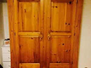 Double wardrobe solid pine