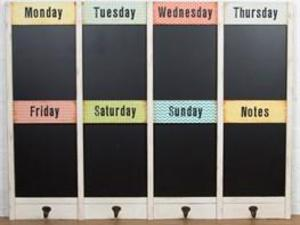 Large chalk board wall planner.