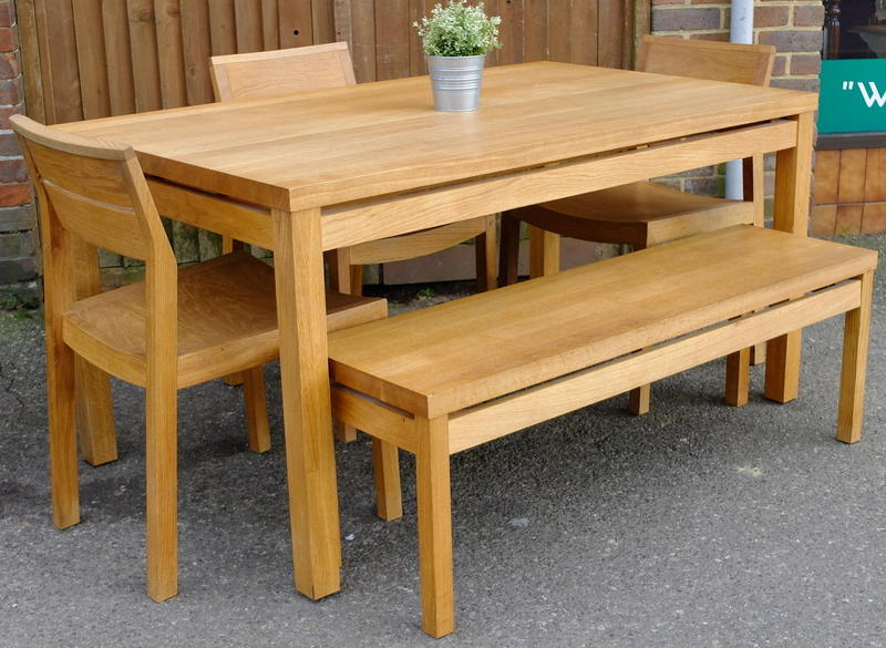 habitat 'radius' table, 3 chairs & bench in haywards heath