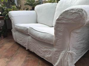 pair of 2 seater cream sofas with removable washable