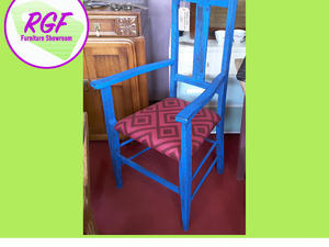 SALE NOW ON!! Blue Painted & Upholstered Chair By The RGFs Restoration Team in Lancing