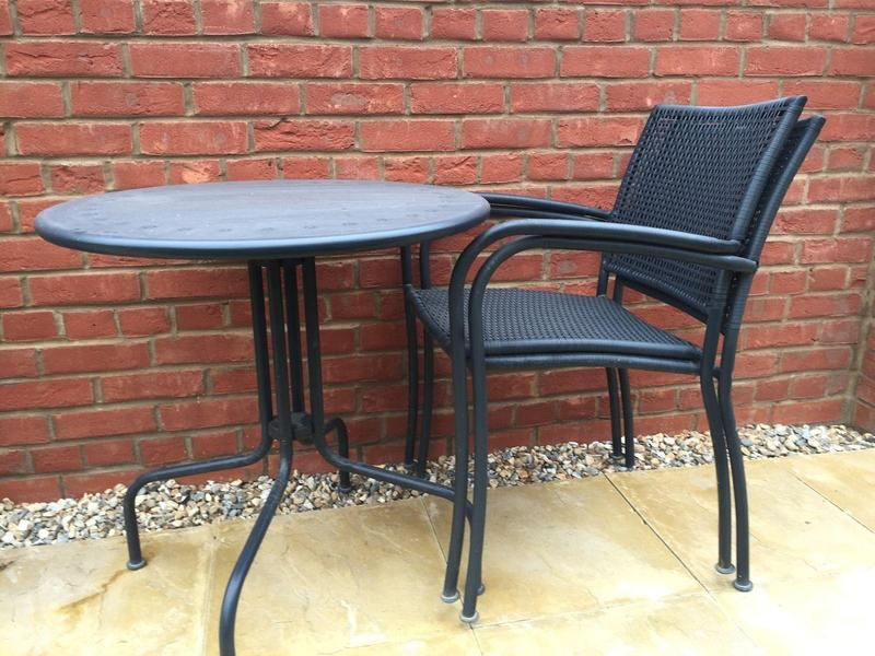 ikea garden table 2 chairs dark grey metal and plastic rattan in
