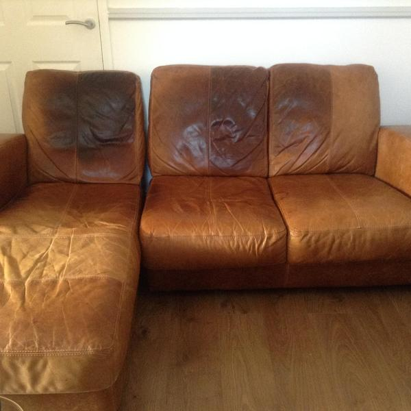 Used 3 seater brown dfs leather sofa with chaise longue in for Chaise longue dfs