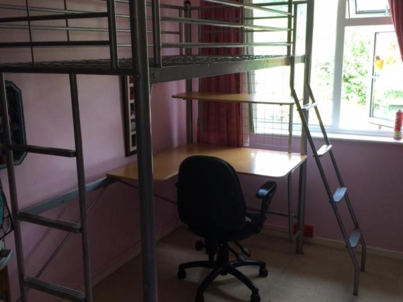 high rise single metal bed frame with built in desk shelf and a chair in romsey sold friday ad - High Riser Bed Frame