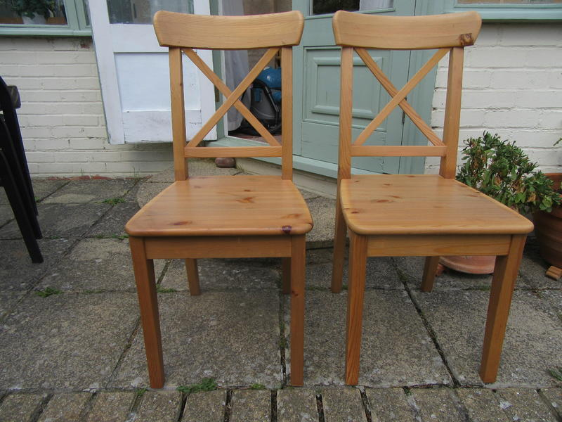 two dining chairs by ikea ingolf chairs solid pine in antique good cond in lancing. Black Bedroom Furniture Sets. Home Design Ideas