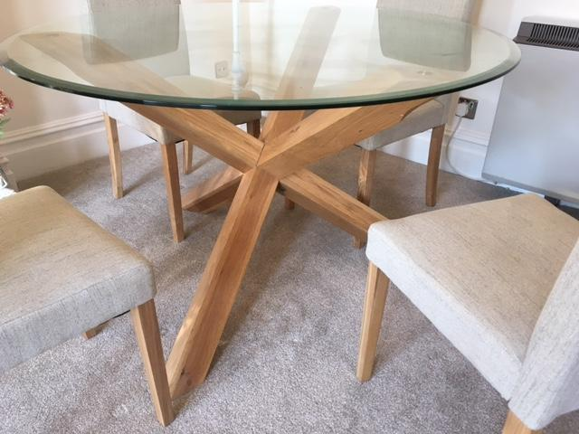 Round Glass Top Criss Cross Oak Leg Dining Table  : round glass top criss cross oak leg dining table 15575754 2800X600 from www.friday-ad.co.uk size 640 x 480 jpeg 45kB