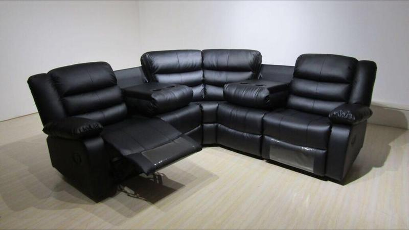 Reclining sofa with cup holderscozy sectionals with for Leather sectional recliner sofa with cup holders