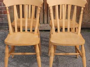 Attractive 4 X Solid Slat Back Chairs In Haywards Heath