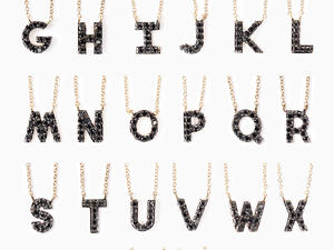 Image result for COVET PAVE INITIAL NECKLACE - BLACK DIAMOND