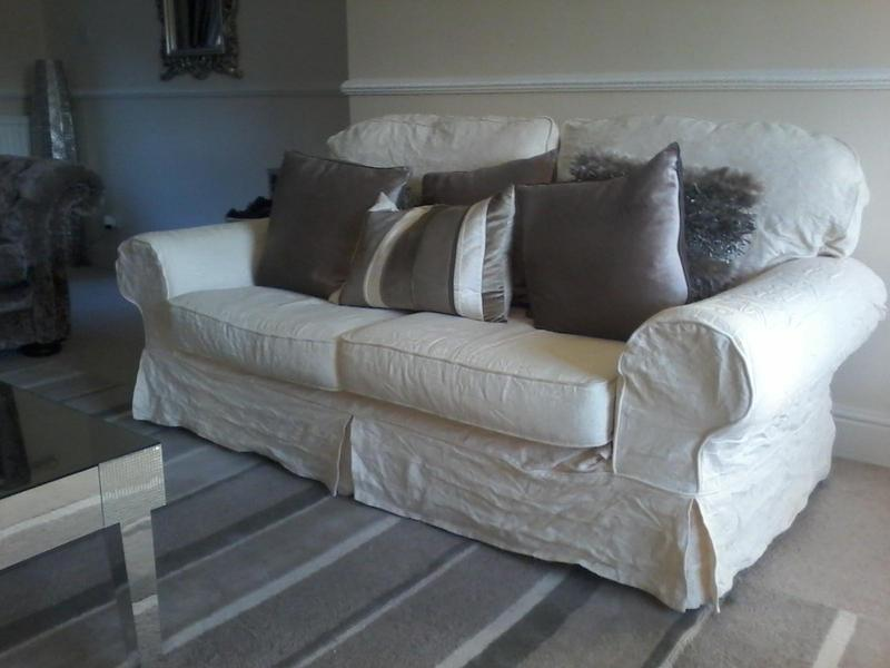 two cream fabric 2 5 seater sofas with loose removable