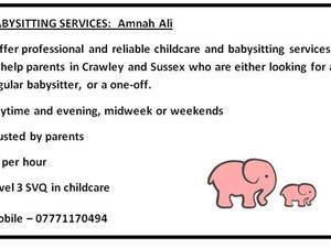 babysitting advert