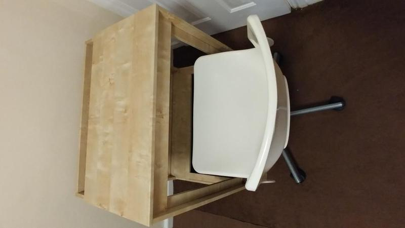 Ikea Child Computer Desk And White Swivel Chair For Sale