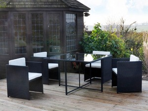 stunning 5 piece rattan effect garden furniture set cube table and 4 chairs in - Garden Furniture Eastbourne