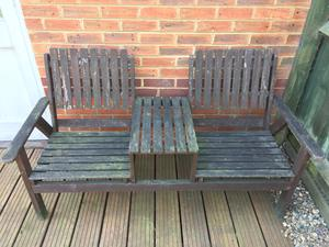 Wooden Love Seat For Two In Daventry