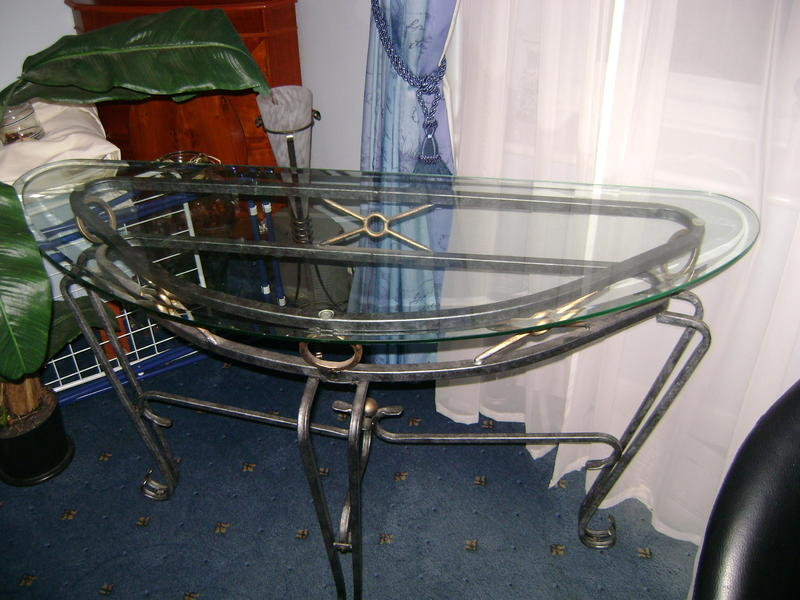 Glass half moon table for hall lounge in littlehampton for 1 2 moon table