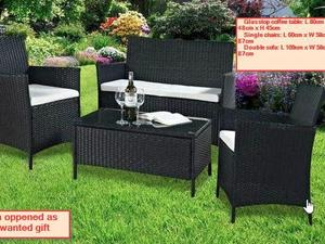 4pc madrid rattan sofa set in black bnib never used or assembled in bristol - Garden Furniture Yate
