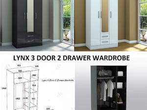 Lynx 3 Door 2 Drawer Wardrobes Great Wardrobe Hugely Discounted Mirror In The Middle Call Now