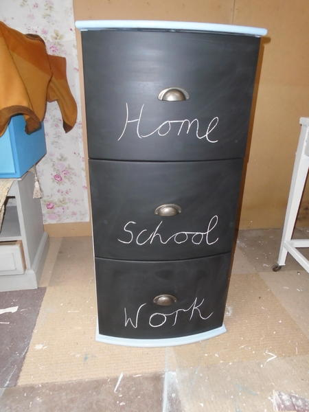 Funky hand-painted file cabinet with chalkboard front drawers in ...