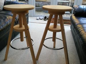 Ikea Wooden Adjustable Stools