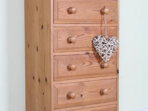 DELIVERY OPTIONS - SOLID PINE TALL 5 DRAWER CHEST OF DRAWERS TONGUE GROOVE SOLID in Eastbourne