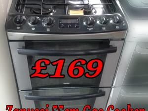 Gas Cooker 55cm Double Oven Stainless Steel Zanussi  in St. Leonards-On-Sea