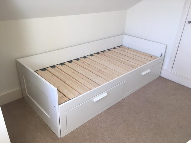 Ikea White Brimnes Day Bed - works as sofa, single bed or converts ...