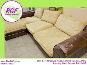 FURTHER REDUCTION!! - Faux Leather 5 Seater Corner / Chaise Sofa - Local Delivery £19 in Lancing