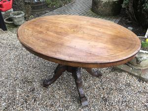Tilt Top Table with Inlaid Burr Walnut Top in Brighton