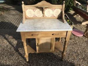 Vintage Tiled Old Pine Washstand  in Brighton